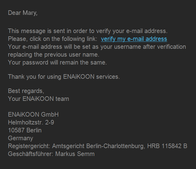 ENAiKOON iD confirmation email