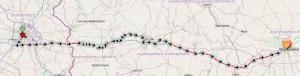 Route des gestohlenen Fahrzeugs nach Polen