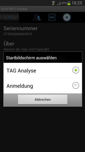 inViu NFC-tracker Einstellungen