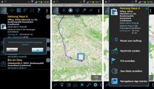 App inViu routes messenger Aufträge mit Routen