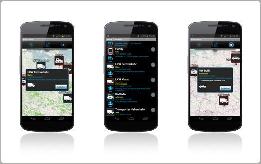 Trackables-auf Landkarte oder in Liste