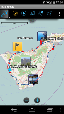 inViu routes - android app