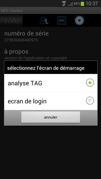 inViu NFC-tracker réglages