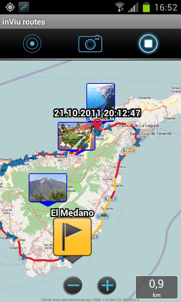 rutas y imagen en el mapa